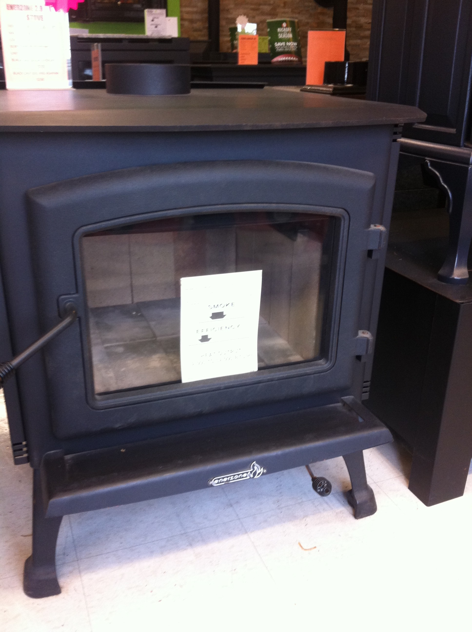 this wood stove will heat up to 2300 square feet and give off 85000 btu it will take a 19 log regular price 1949 with 50 off